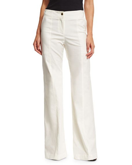Veronica Beard Wanderlust Wide-Leg Stretch Pants