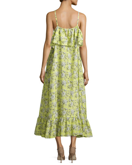 Floral-Print Tiered Maxi Slip Dress, Yellow Pattern