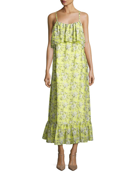 Robert Rodriguez Floral-Print Tiered Maxi Slip Dress, Yellow