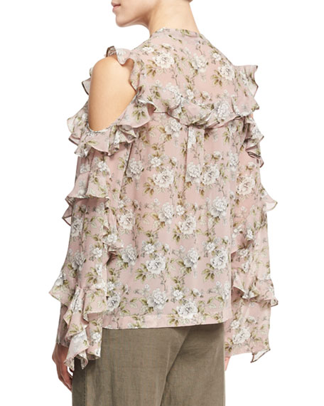 Floral-Print Silk Cold-Shoulder Shirt, Pink