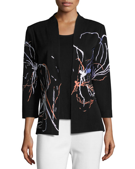 Misook Fireworks Embroidered Jacket, Plus Size