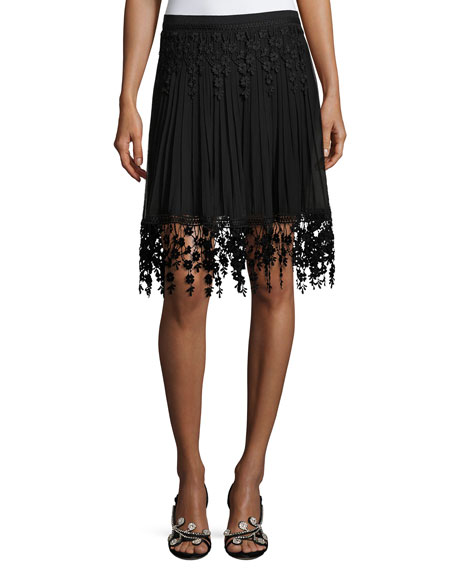 Elie Tahari Brielle Pleated Chiffon & Floral-Lace Skirt,