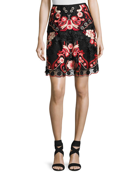 Kobi Halperin Bristal Floral Lace Skirt, Multi