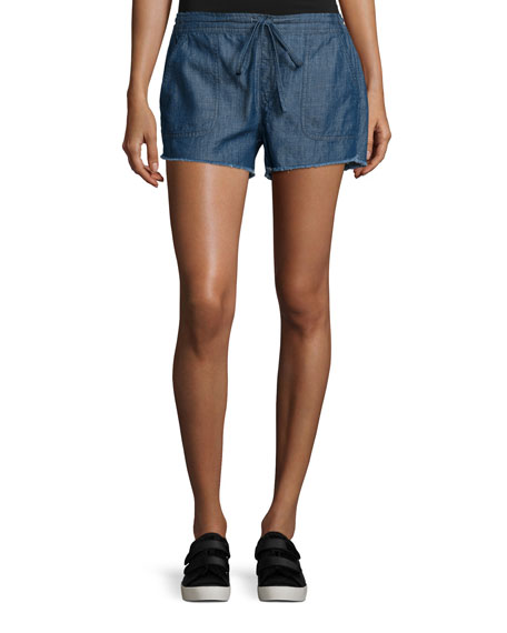 Kalpana Chambray Drawstring Shorts, Blue