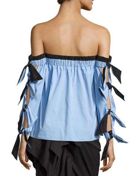 Blythe Off-the-Shoulder Stretch-Poplin Top, Multi Pattern