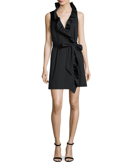 Milly Sleeveless Stretch-Poplin Ruffle-Front Wrap Dress, Black