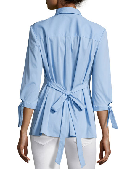 Avery Tie-Waist Stretch-Poplin Top, Sky