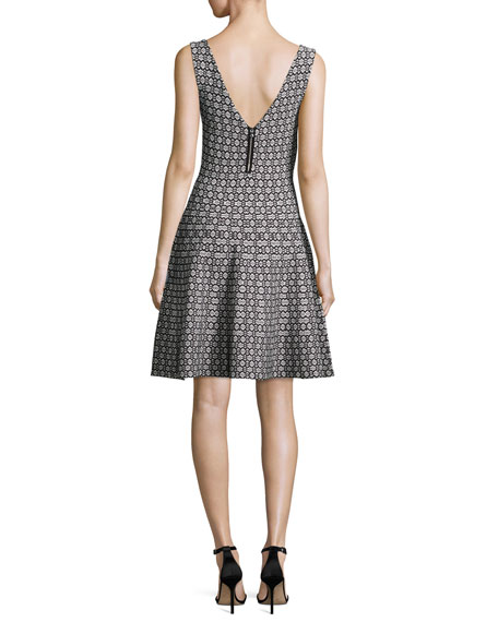 Sleeveless Geometric Jacquard Knit Fit-&-Flare Dress