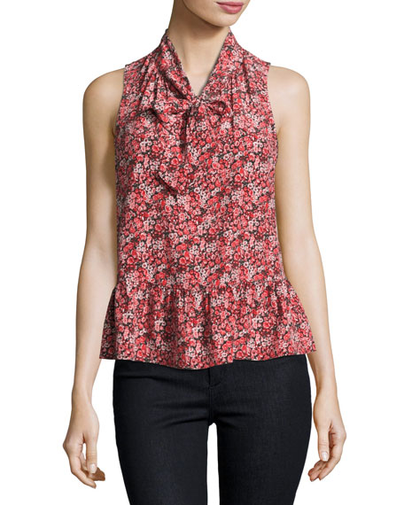 Joie Estero Floral Silk Sleeveless Tie-Neck Blouse, Coral