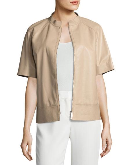 Ethan Short-Sleeve Tissue-Weight Lamb Leather Jacket, Medium Beige