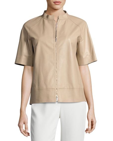 Ethan Short-Sleeve Tissue-Weight Lamb Leather Jacket, Medium Beige