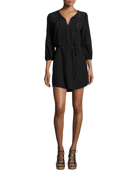 Joie Saxona Split-Neck Silk Mini Dress, Black