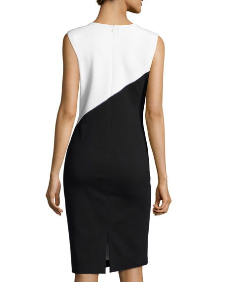V-Neck Colorblocked Punto Milano Sheath Dress, White/Black