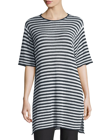 Eileen Fisher Half-Sleeve Striped Organic-Linen Sweater,