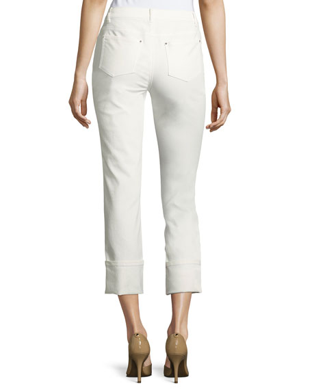 Waxed Cropped Cuffed Jeans, White