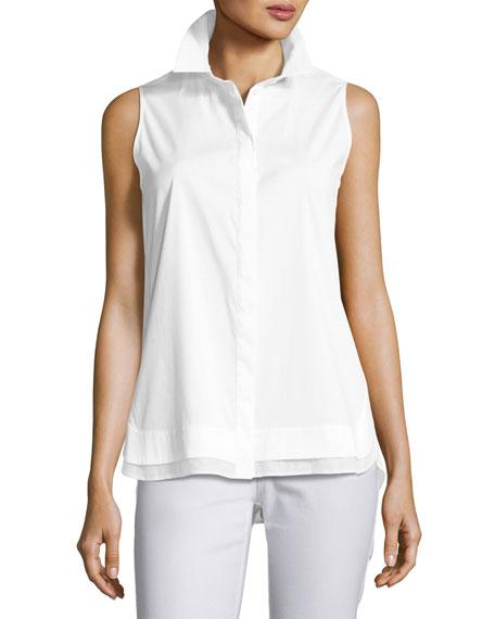 Excursion Sleeveless Stretch-Cotton Top, White