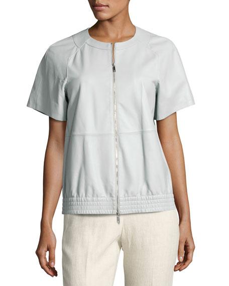 Daelyn Short-Sleeve Zip-Front Lambskin Jacket, Light Blue