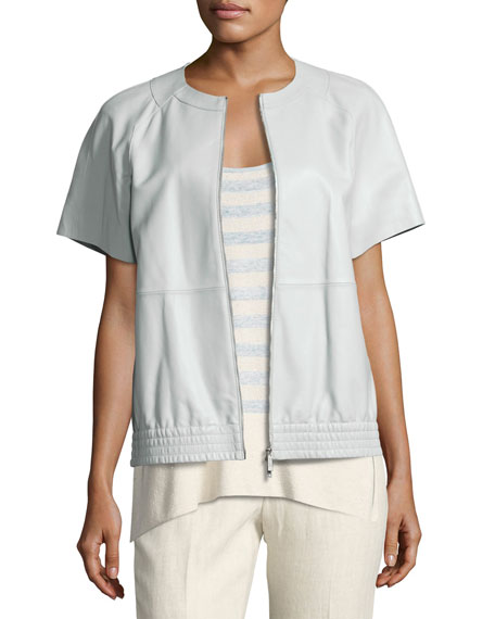 Lafayette 148 New York Daelyn Short-Sleeve Zip-Front Lambskin