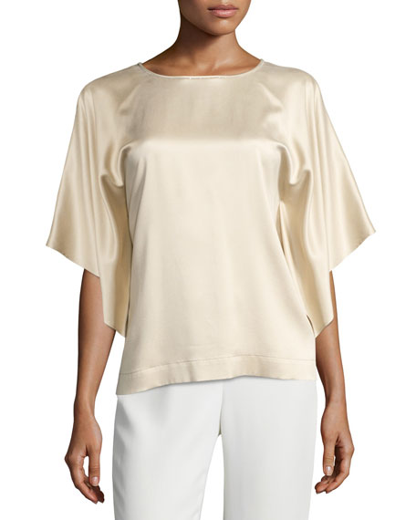 Yara Chain-Trim Artistry Silk Blouse, Gold