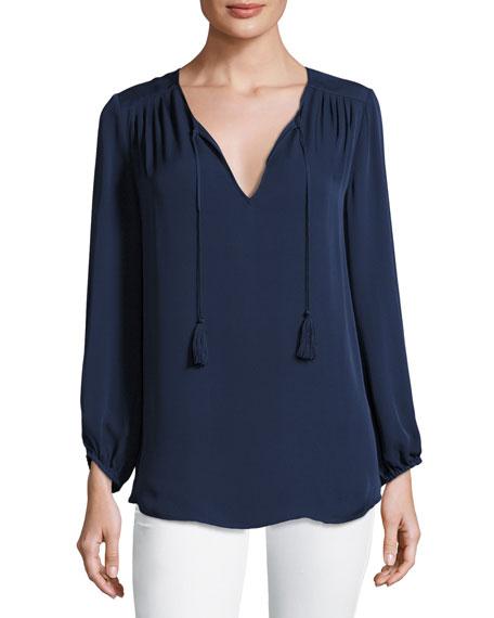 Joie Odelette Split-Neck Silk Top, Blue
