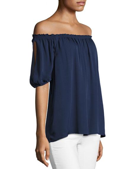 Joie Kendal Off-the-Shoulder Silk Top, Blue