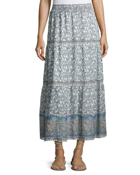 Joie Kenath Floral-Print Silk Prairie Skirt, White/Blue