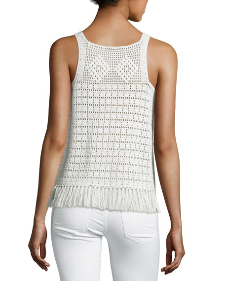 Zaylee Crochet Sleeveless Fringe-Hem Top, White