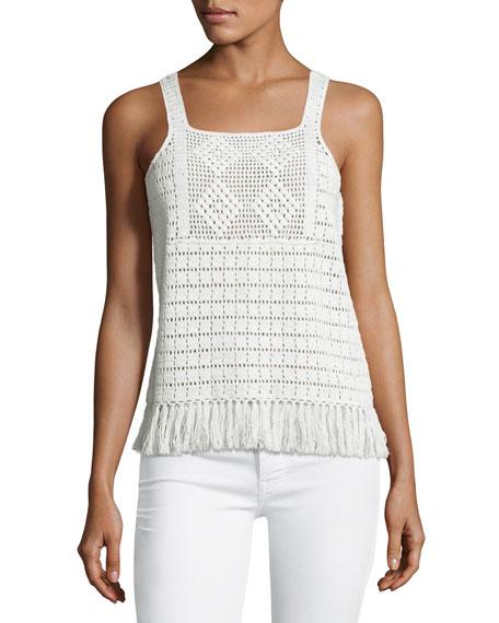 Zaylee Crochet Sleeveless Fringe-Hem Top, White