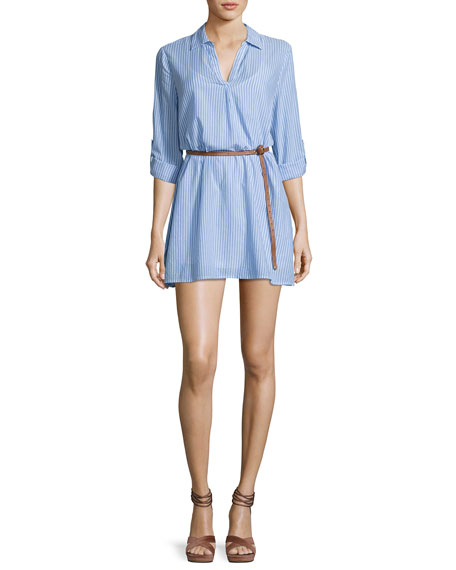 Joie Sehun Striped Poplin Shirtdress, Blue/White