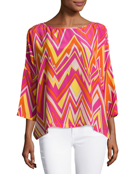 M Missoni 3/4-Sleeve Retro Zigzag Silk Blouse, Multi