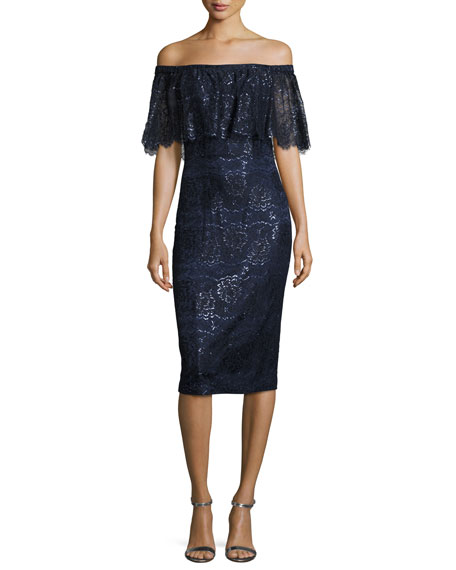 Off-the-Shoulder Metallic Lace Cocktail Dress, Navy