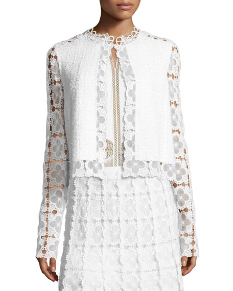 Elie Tahari Annabella Textured Lace-Panel Jacket, White