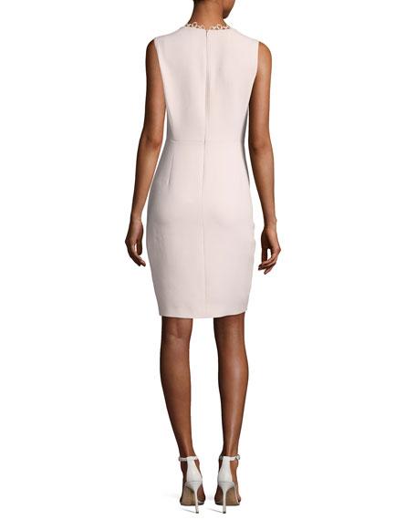 Saylah Sleeveless Lace-Trim Sheath Dress, Pink