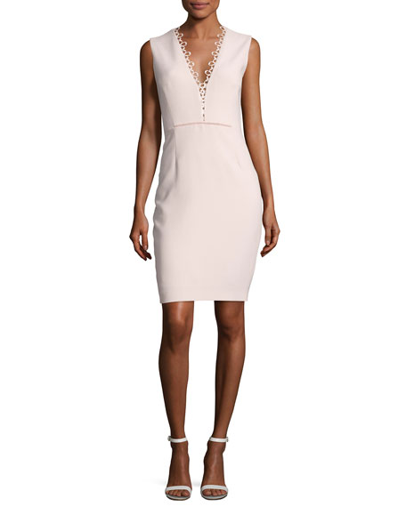 Elie Tahari Saylah Sleeveless Lace-Trim Sheath Dress, Pink