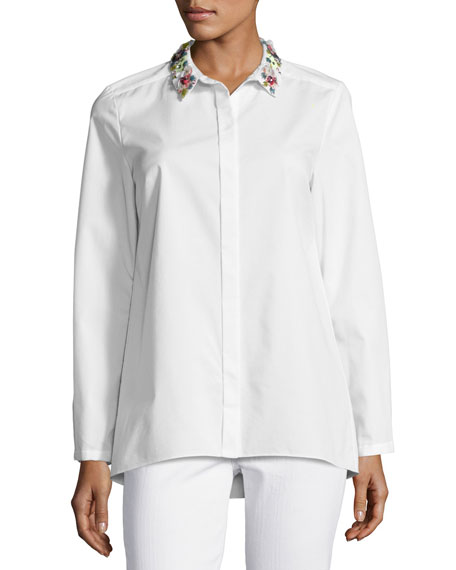 Elie Tahari Teanna Floral-Trim Button-Front Blouse, White