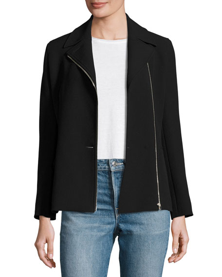 Helmut Lang Asymmetric-Zip Suiting Jacket, Black