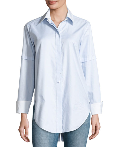 Helmut Lang Long-Sleeve Convertible Striped Poplin Shirt, Light