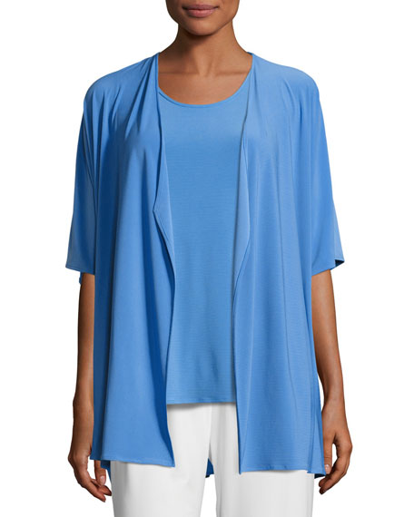 Caroline Rose Knit Open-Front Cardigan, Medium Blue, Plus