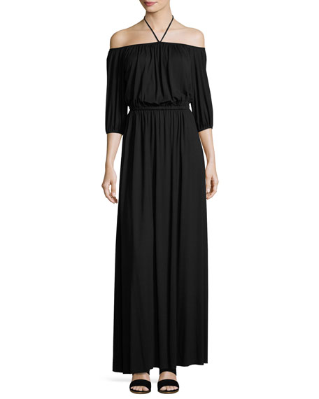 Lorenzia Off-the-Shoulder Maxi Drama Dress
