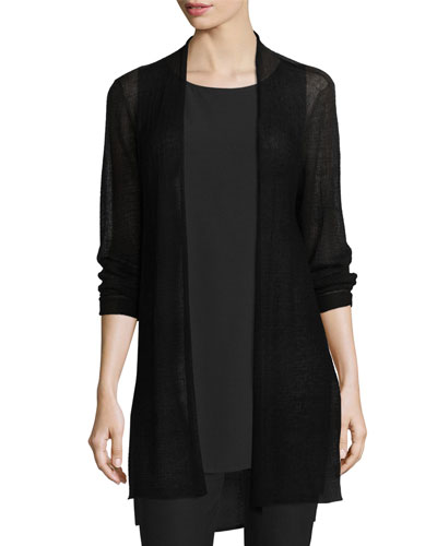 Open-Front Sheer Hemp Grid Long Cardigan, Black