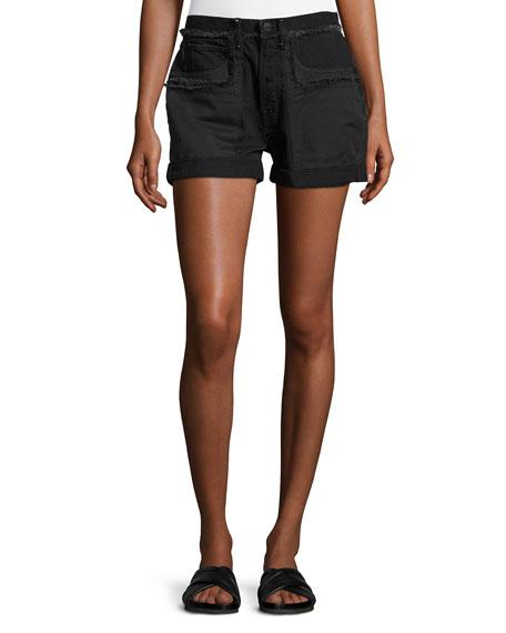 Frayed Cotton Denim Shorts, Black