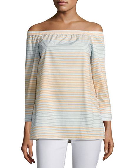 Lafayette 148 New York Amy Striped Off-the-Shoulder Cotton