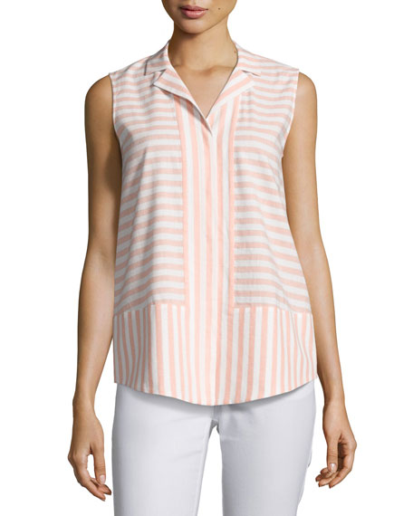 Jasper Sleeveless Cosmopolitan Striped Blouse, Multi