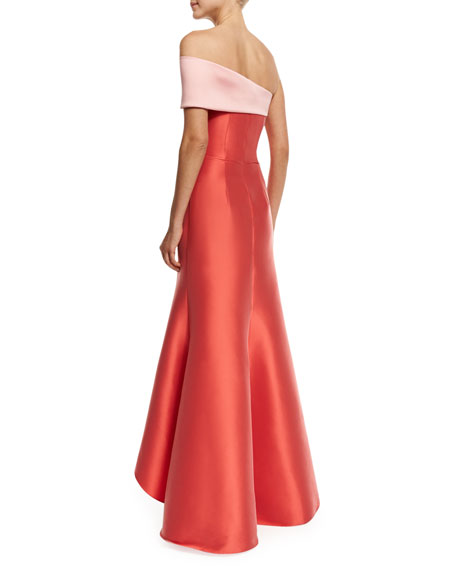 Sachin & Babi Two-Tone Stretch Jacquard Mermaid Gown, Coral