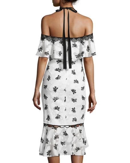 Cold-Shoulder Printed Burnout Midi Dress, Ivory