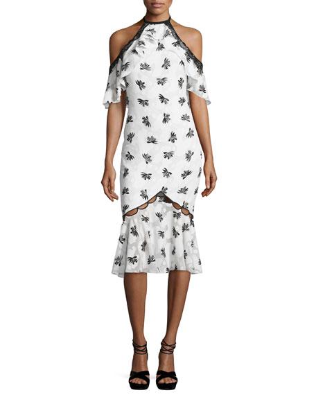 Sachin & Babi Cold-Shoulder Printed Burnout Midi Dress,