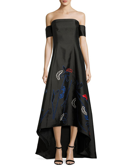 Sachin & Babi Off-the-Shoulder Jacquard High-Low Gown, Onyx