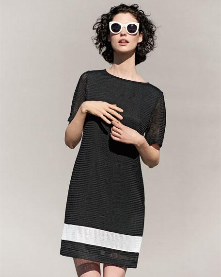 Rochelle Sheath Border-Stripe Dress, Petite