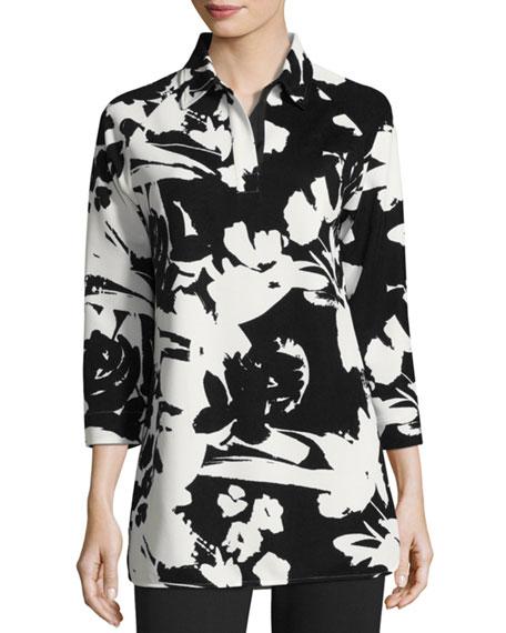 Joan Vass Floral-Print Pique Tunic, Plus Size