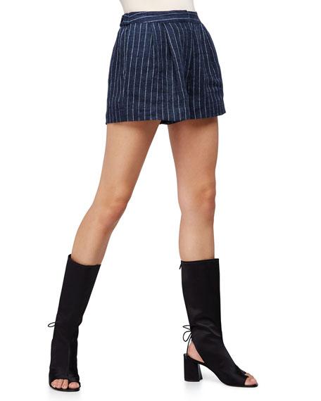 3.1 Phillip Lim Linen Pinstripe Utility Shorts, Navy